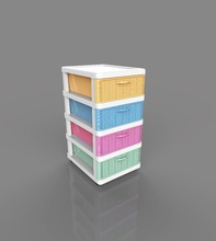 4 layers plastic drawer organizer desk chest cabinet with beautiful color