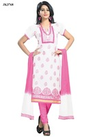 Ladies Casual Wear White And Pink Color Un Stitched Cotton Salwar Kameez