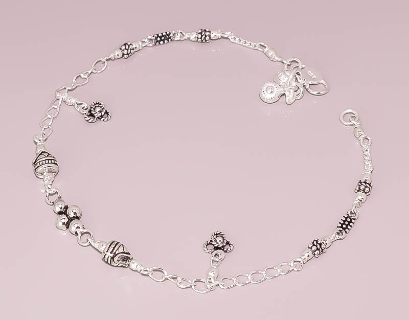 Vintage Look 925 Sterling Silver Jewelry Anklet