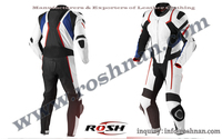 New Latest Style Racing Leather Motorcycle White/Black/Blue One Piece Suit All Sizes