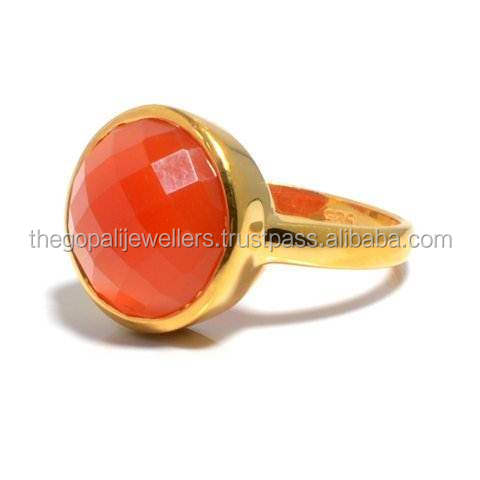 The Gopali Jewellers Orange Chalcedony Gemstones Ring 925 Sold Sterling Silver Ring Designer Prong Ring