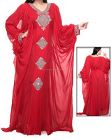 2016 Red Color Islamic Clothing Women Long Muslim Kaftan Garments