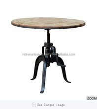 INDUSTRIAL & VINTAGE CAST IRON/WOODEN ADJUSTABLE ROUND CRANK DESIGN DINING TABLE