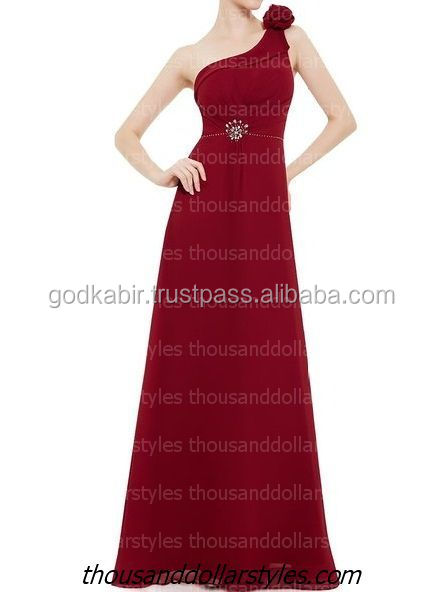 Red Women Hi Fi Fashion Long Gown One Shoulder Rhinestones Elegant Evening Dresses Party Dresses