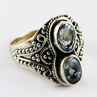 Great Impression !! Blue Topaz 925 Sterling Silver Ring, Wholesale Silver Jewelry From India, Indian Handmade Silver Jewelry