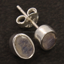 Faceted Rainbow Moonstone Simple Small Cute Stud Earrings 0.8 CM Daily Wear Earring For Women Girls