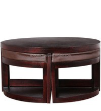 Sheesham Wood Coffee Table with Four Stools in Passion Mahogany Finish .