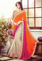 cream and orange designer saree online