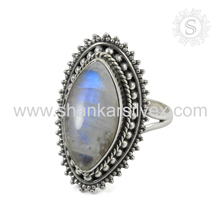 Souvenir Ladies Fashion Rainbow Moonstone Ring Wholesaler 925 Silver Jewelry Gemstone Silver Jewelry