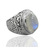 925 Sterling Silver Rainbow moonstone Antique Hot Selling Ring Silver Jewelry