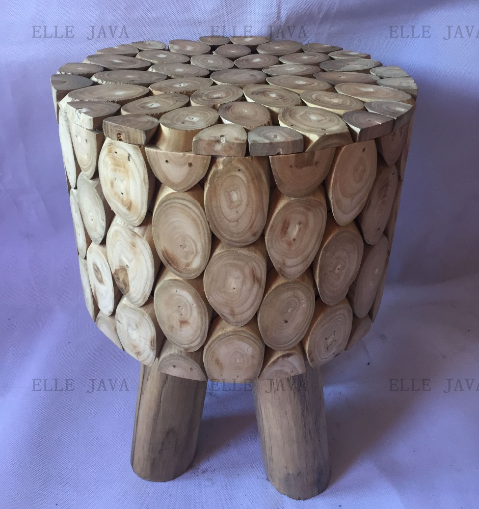 Teak Root Furniture Stool round stool w' 3 legs stand 45x35cm