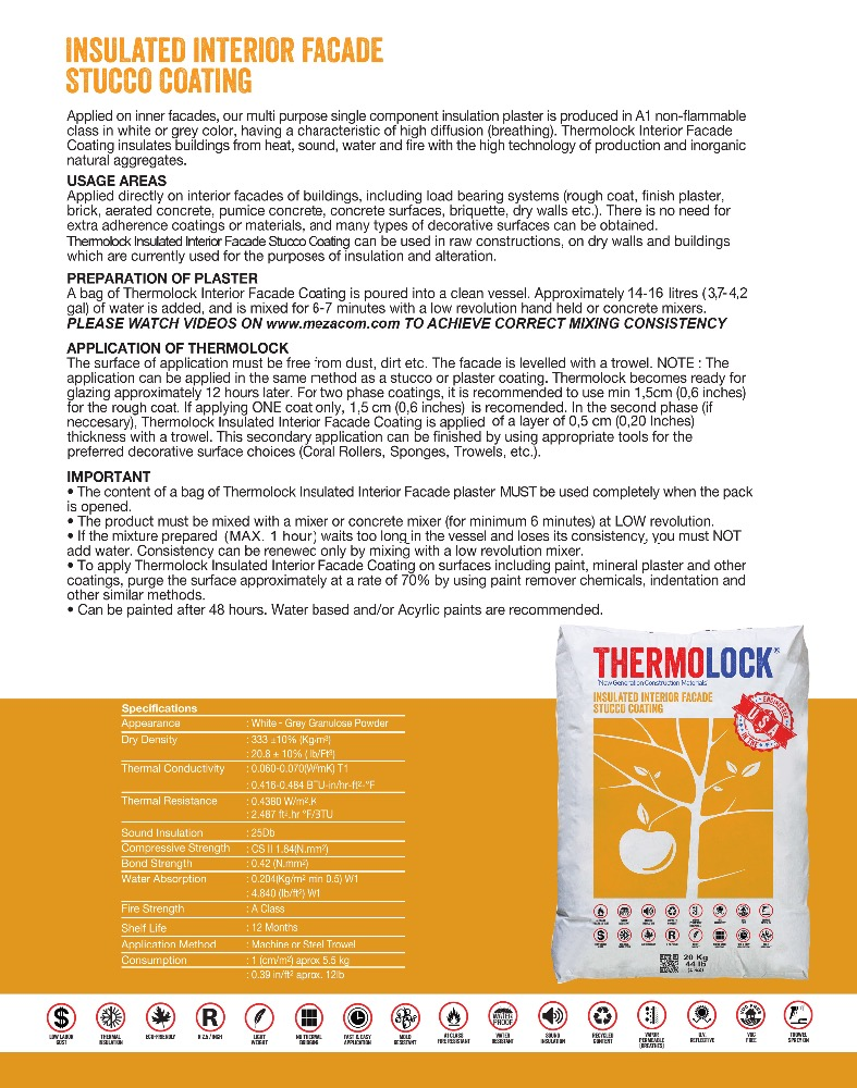 THERMOLOCK INSULATED INTERIOR FACADE STUCCO COATING