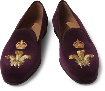 Handmade mens Purple Crown embroidered loafer velvet Shoes, Men velvet slippers