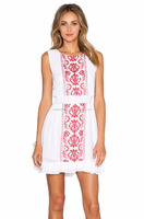 European Style Hot Selling Classic Elegant Design Office Wear Ladies Blouse/Customized Embroidered Sleeveless White Girls Tunic