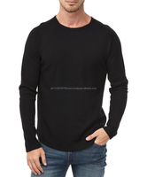Slim fit design Casual long sleeves tee custom bulk in black, cheap wholesale rates