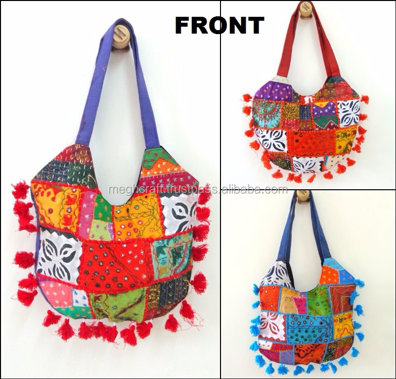 Wholesale Vintage Fabric Tribal Banjara Shoulder Handbag/Handmade Gypsy Handbag/Kutch Embroidered Shoulder bag/mirror work bag