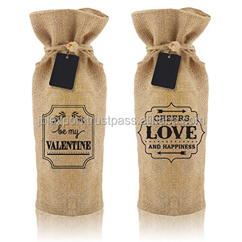 Wine packaging jute bags with new drawstring