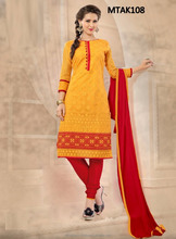 Yellow and red colored straight cut style salwar suits