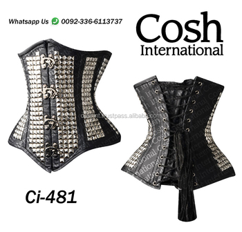 COSH INTERNATIONAL : Ci-481 Black Leather Vest Corset Supplier & Manufacturer