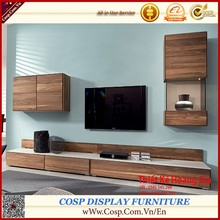 Luxury living room furniture walnut wood TV stand