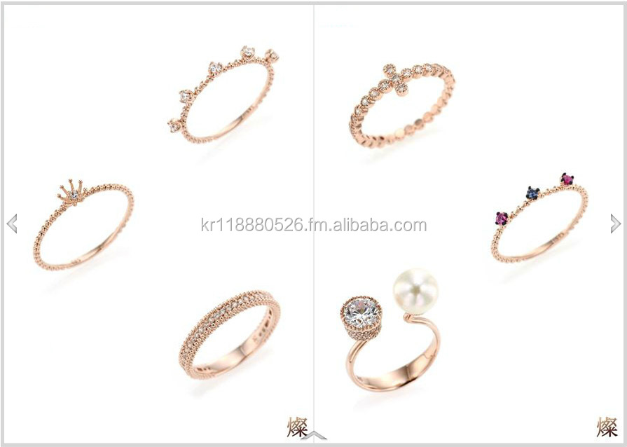 Korea gold & silver jewelry women rings