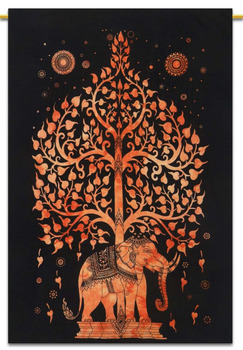 Tree Of Life Wall Hanging Indian Cotton Tapestry Boho Poster Size Decor Throw 42 x 30 Inches TPS140C