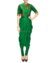 Green Cowl Style Indowestern Suit for women