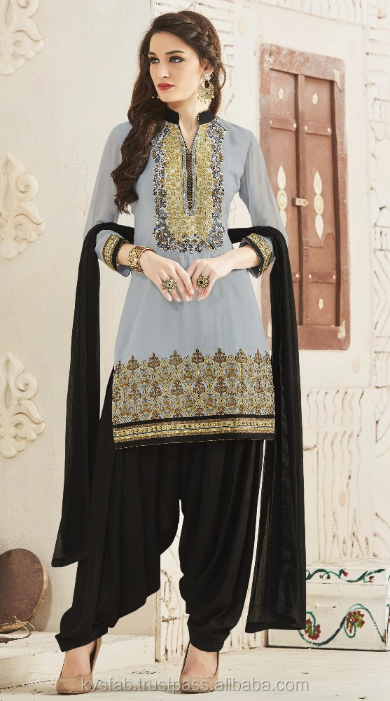 Adorable grey and black Salwar kameez designs with borders 7755