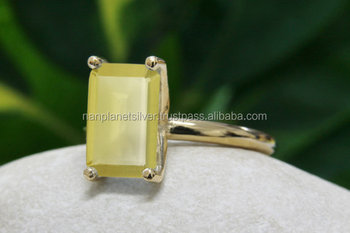 Prong Set Rectangle Yellow Chalcedony Ring For Women