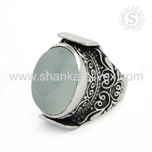 Natural Engagement Chalcedony Silver Ring Supplier Gemstone Silver Jewelry Wholesaler Online Silver Jewelry