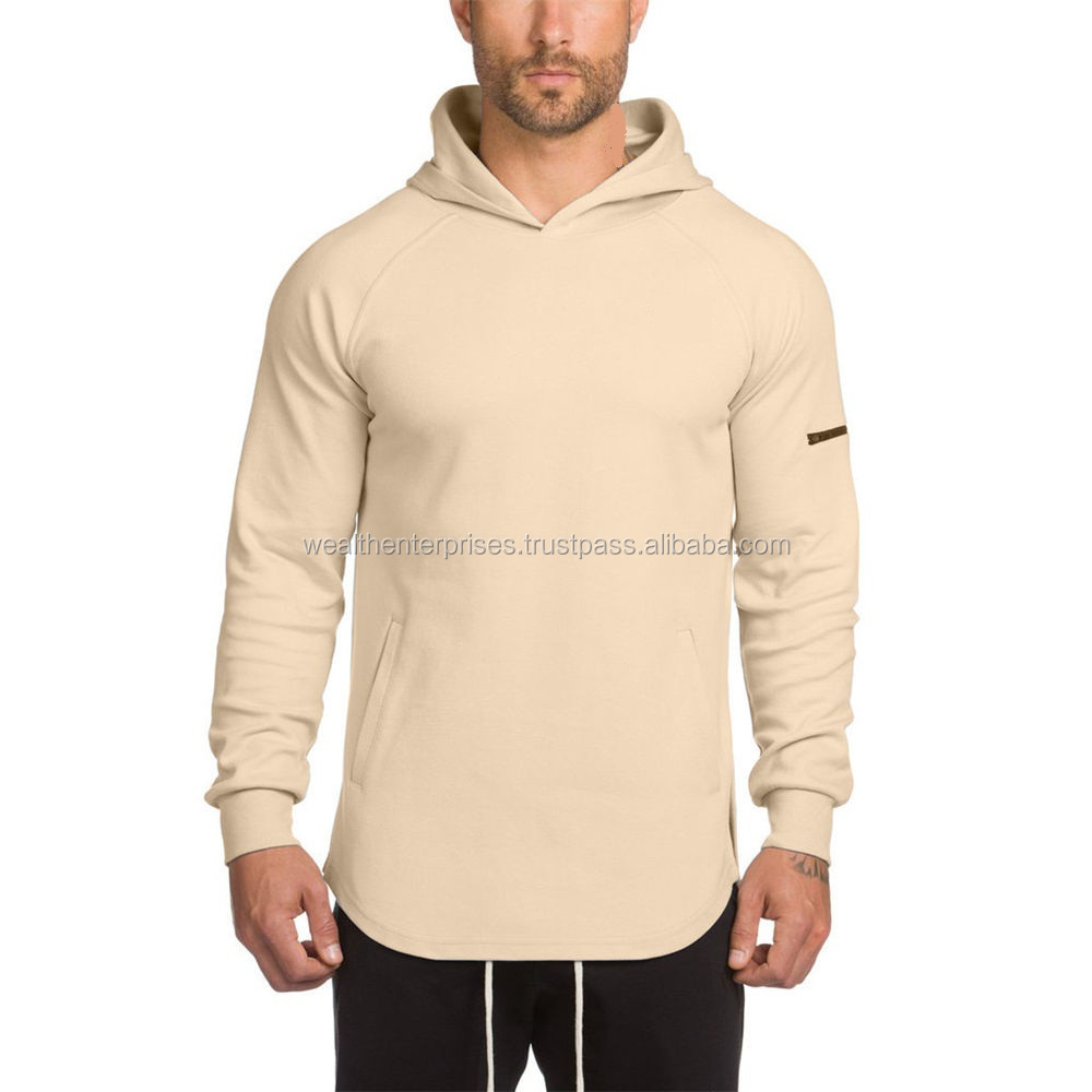 Cream color gym hoodie with sleeve pockets/Light color gym hoodie with sleeve pocket