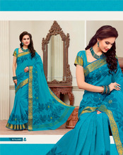 Enthusiastic Teal Cotton Saree/function wear designer saree