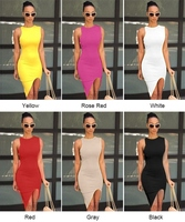 Sexy Women O-Neck Sleeveless Asymmetric Hem Solid Slim Bodycon Split Casual Dress