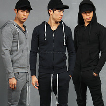 Pocket Zip Up Long Strap Slim Hooded Sweatshirt / Plain Hooded Sweatshirt / Fitted Zipper Sweatshirt