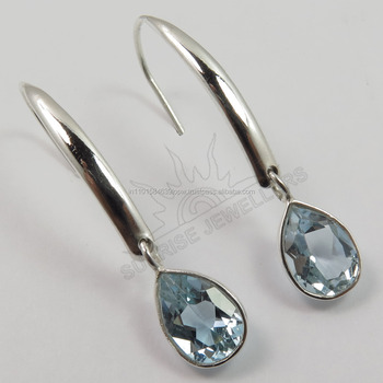 ladies earrings designs pictures Natural blue topaz Pear Faceted Gemstone 925 Solid Sterling Silver ! Fashion Jewelry
