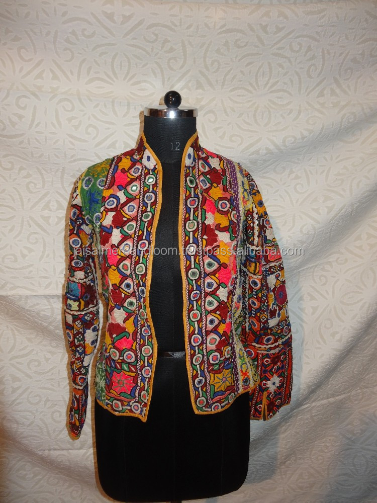 Traditional indian embroidery jackets made of vintage textile mirror work