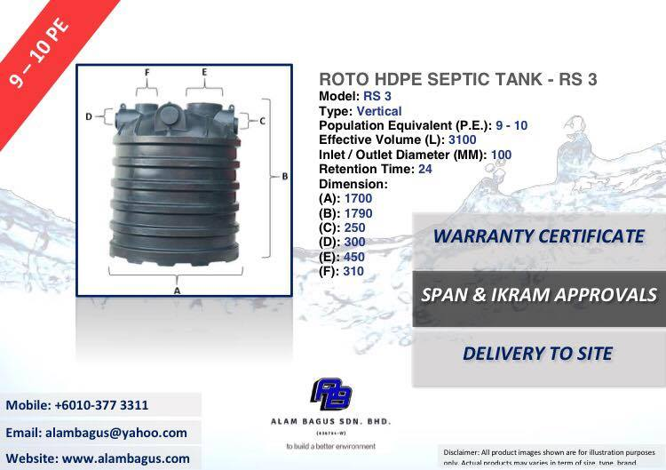 ROTO RS 3 Vertical HDPE Septic Tank (PE9-10) 1700MM (DIA) x 1790MM (H) 3100L