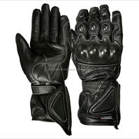 Black leather racing Moto gloves in cheap rates