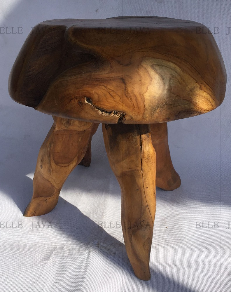 High Quality Teak Root Furniture Round Stool W' 3 legs 45x40cm