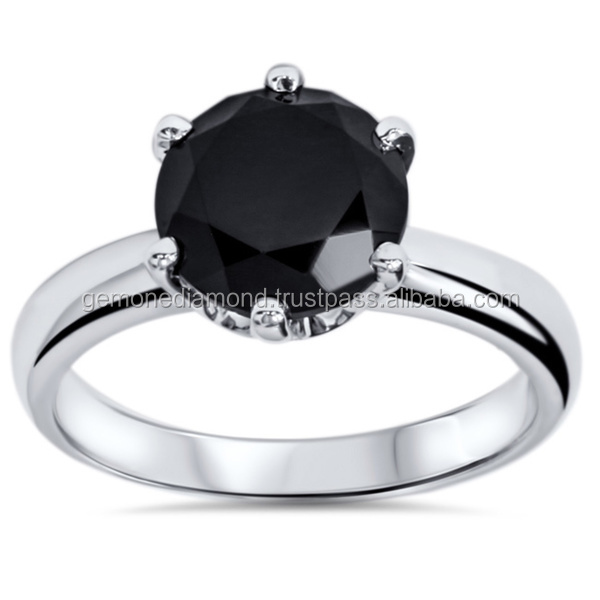 Genuine black round brilliant cut Diamond Solitaire Promise Ring made in White gold