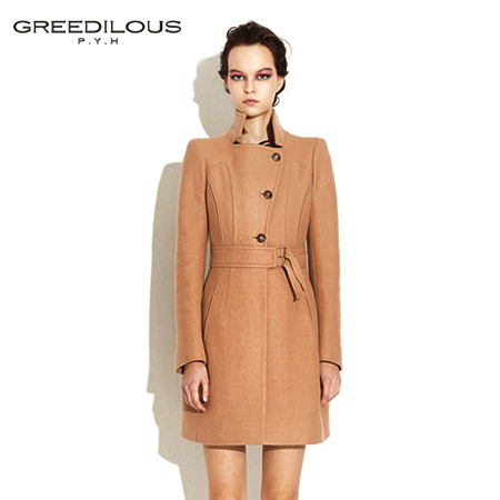 [GREEDILOUS] High collar coat(beige, black) slim sillouette feminine coat
