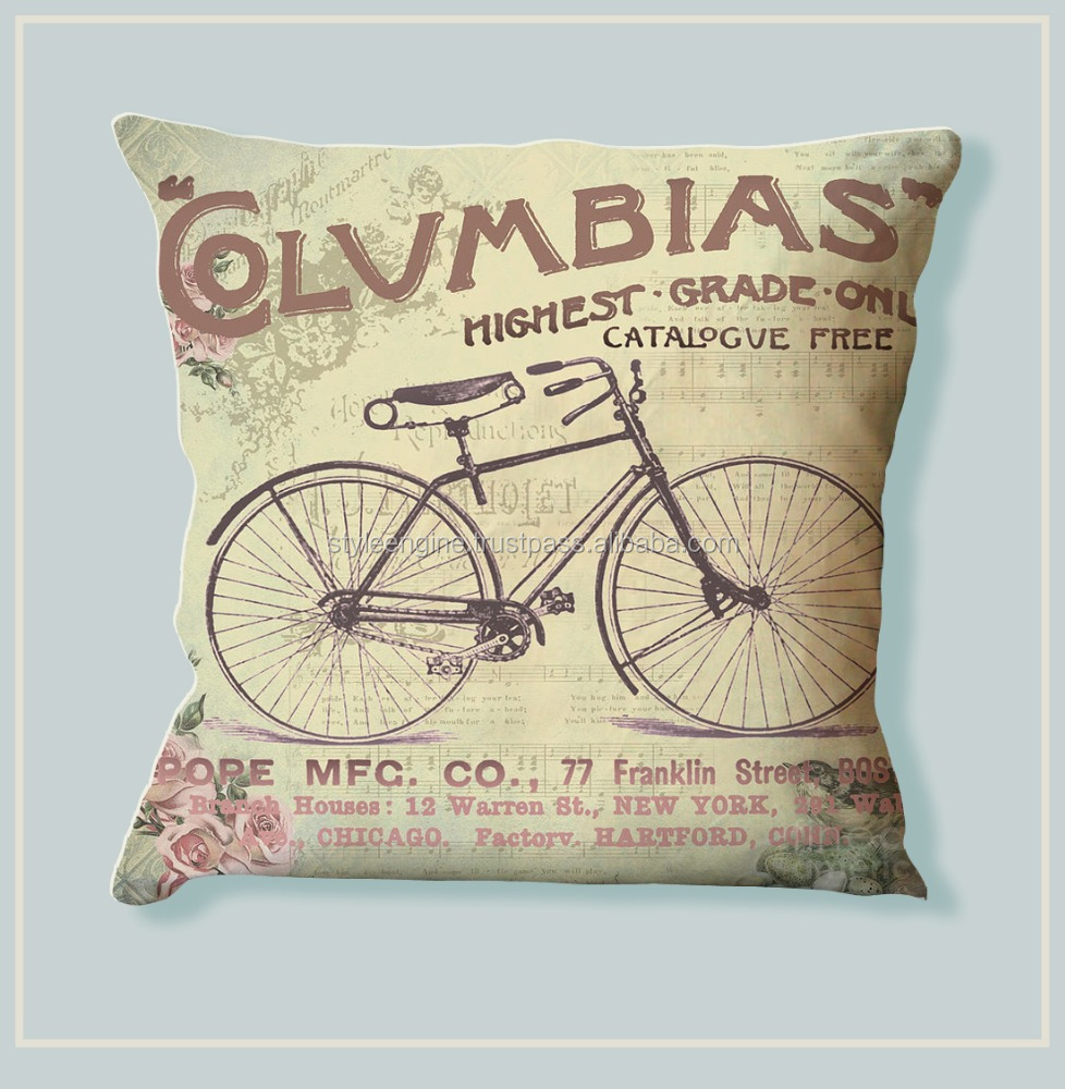 VINTAGE BICYCLE PRINT DIGITAL PRINTED COTTON CUSHION COVER