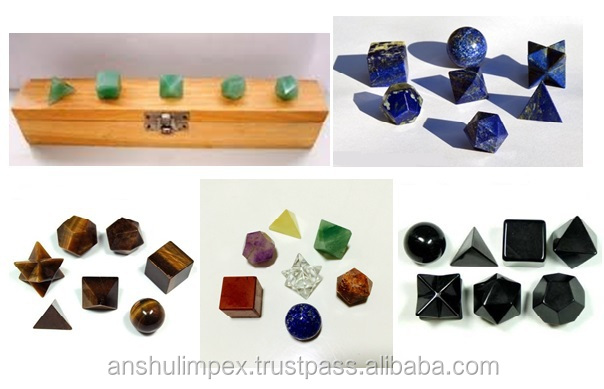 Lapis Lazuli Sacred Geometric Sets: Platonic Solid Set with box