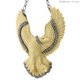 Pave Diamond Bone Carving Flying Eagle Pendant Necklace Carved Gemstone Jewelry