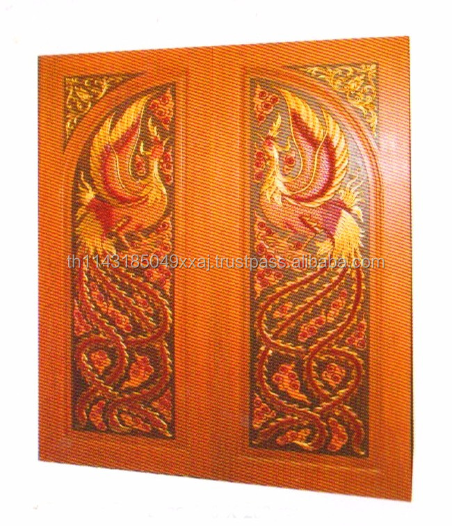 Swan Wood Engraving Solid Wood Double Door Real Thai Teak Wood Main Door Designs No.1