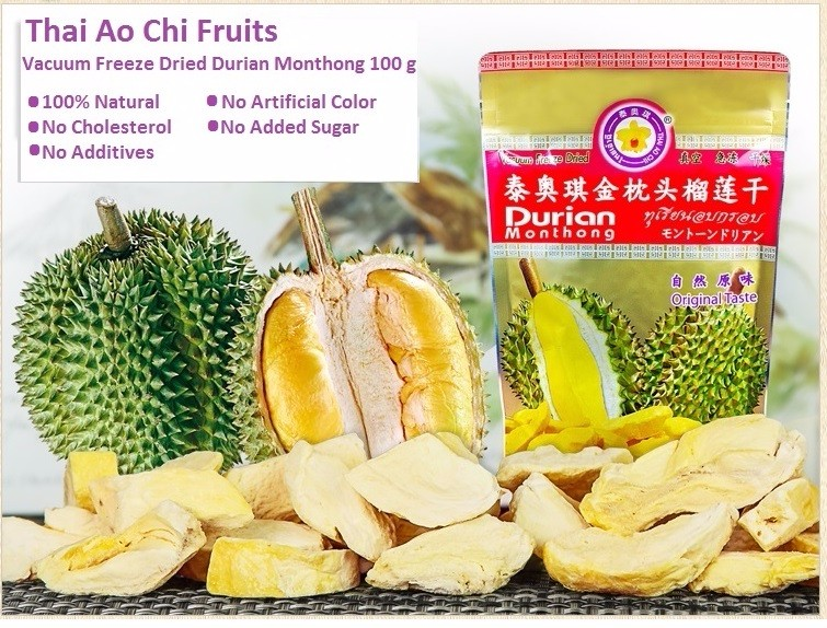 Thai Freeze Dried Durian Monthong Slice from Thailand