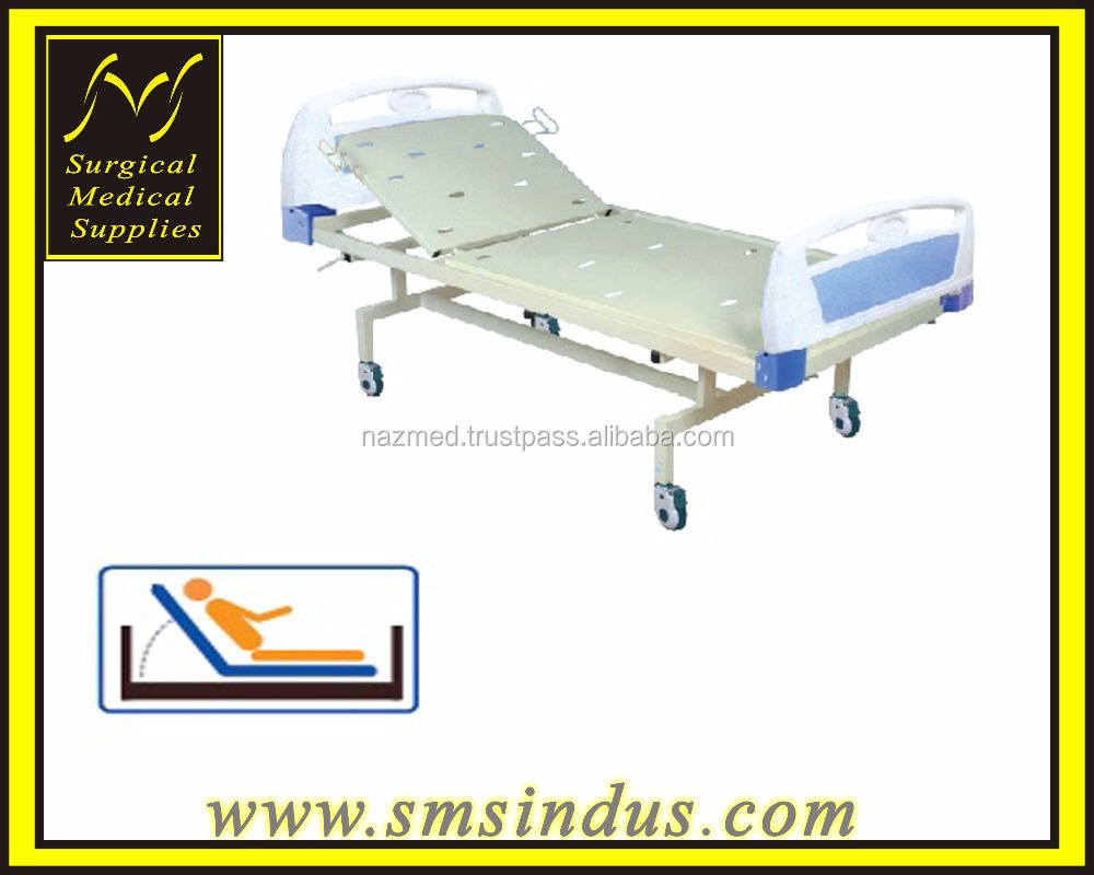 Hospital Bed 2 Section Single Fowler Position Gas Spring Assisted Adjustment Fixed Ht