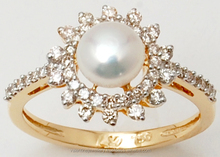 Sun Shaped Ring With Center Sea Water Pearl And Side Diamond In Yellow Gold Metal