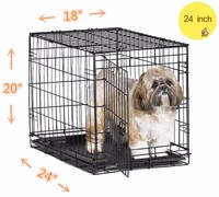 Pet folding Crates Puppy Dog Cat metal foldable cages 24 inch with handle
