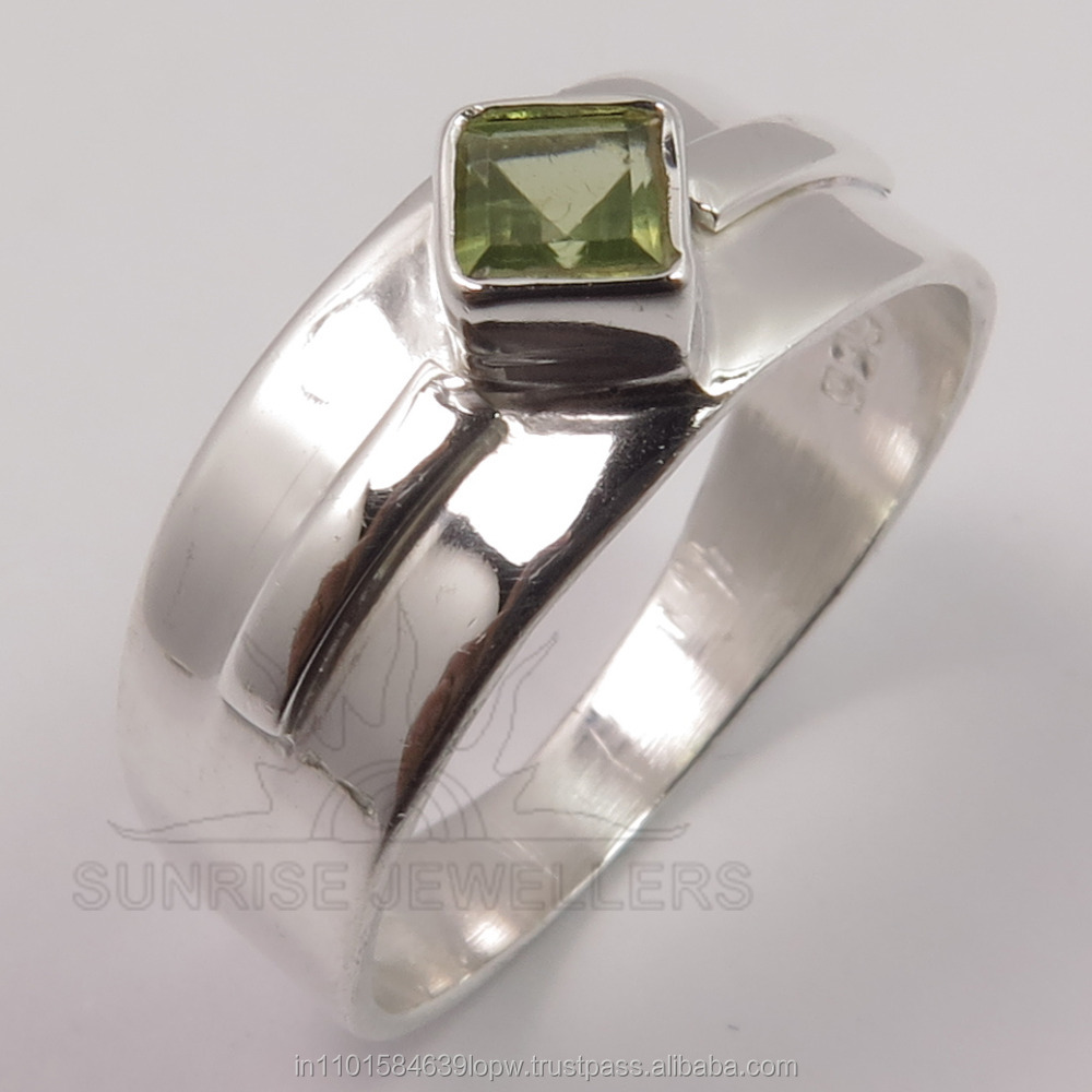Wholesale Price Genuine PERIDOT Square Faceted Gemstone 925 Solid Sterling Sliver New Designer Ring Any Sizes Top Gift Store